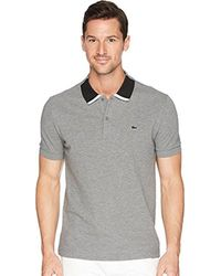 Lacoste - Short Sleeve Petit Pique With Color Block Collar Reg Fit Polo, Ph7221 - Lyst