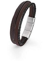 S.oliver - Herren Armband mehrreihiges Leder gelochten Edelstahl Magnetverschluss 20+1,5 cm braun - Lyst