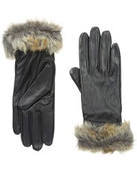 Marc New York - Marc New York Vail Leather Glove With Faux Fur Trim - Lyst