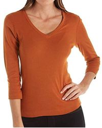 8ae11533e Lyst - Three Dots Deep V Neck 3/4 Sleeve Tee in Blue