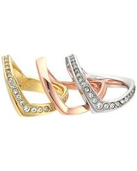 Michael Kors - S Tone And Crystal Stacked Ring Set - Lyst