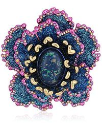 Betsey Johnson - S Blooming Betsey Blue And Pink Glitter Flower Brooches And Pin, One Size - Lyst