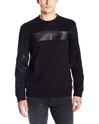 CALVIN KLEIN 205W39NYC - Leather Mix Media Crew Neck Long Sleeve Sweatshirt - Lyst