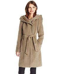 Cole Haan - Alpaca Wool Belted Coat With Hood - Lyst