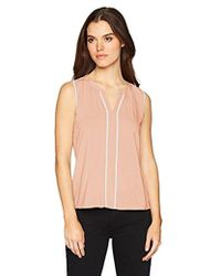CALVIN KLEIN 205W39NYC - Sleeveless V-neck Piped Top - Lyst