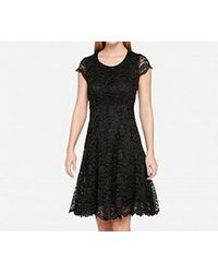 cf3368bd4ee Tommy Hilfiger Fern Lace Fit & Flare Dress in Black - Lyst