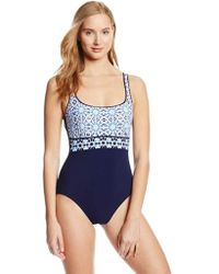b4b00a7801 Lyst - Gottex Textured Mastectomy High Neck One Piece Swimsuit in ...