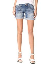 True Religion - Emma Mid Rise Bermuda Shorts With Flaps - Lyst