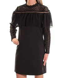 Kensie - Thick Stretch Twill Dress Lace Sleeve And Popover - Lyst