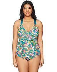 76308029bd22f Lyst - Jessica Simpson Plus Size Retro One-piece Swimsuit in Blue ...