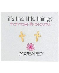 "Dogeared - ""it's The Little Things"" It's The Little Things Simple Cross Earring Studs - Lyst"