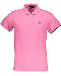 GANT Contrast Colour Pique Rugger Short Sleeve Polo Shirt - Pink