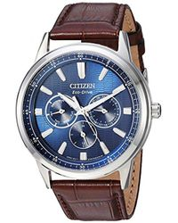Citizen - 'eco-drive' Quartz Stainless Steel And Leather Casual Watch, Color Brown (model: Bu2070-12l) - Lyst