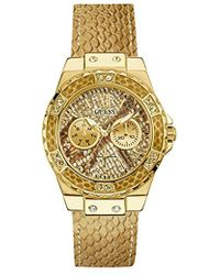 Guess - Stainless Steel Genuine Leather Crystal Accented Watch - Lyst