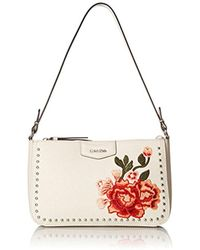 CALVIN KLEIN 205W39NYC - Saffiano Leather Studded And Embroidered Flower Demi Shoulder Bag - Lyst
