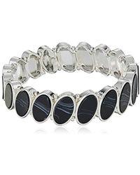 Nine West - Silver-tone And Jet Stretch Bracelet, Size 0 - Lyst