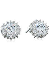 CZ by Kenneth Jay Lane - Basic Round Cubic Zirconia Pierced Pinwheel Halo Stud Earrings - Lyst