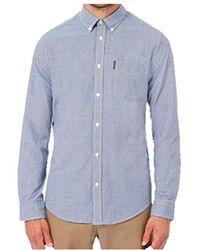 Ben Sherman Long Sleeve Micro Check Gingham Shirt 0048542 (4xl, Blue Denim)