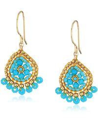 Miguel Ases - Mini Teardrop Fringed Rondelle Turquoise Drop Earrings - Lyst