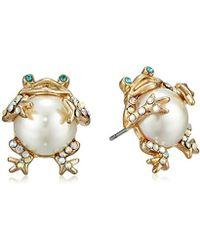Betsey Johnson - S Pearl Critters Frog Stud Earrings - Lyst