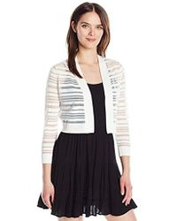 Calvin Klein - 3/4 Sleeve Sheer Stripe Shrug With Self Banding And Cuff - Lyst