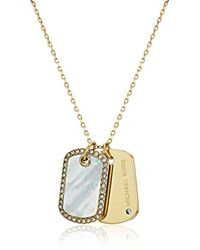 Michael Kors - S Perfect For Gifting - Mother-of-pearl, Pave-accented Dog Tag Pendant Necklace - Lyst