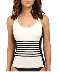 DKNY - S A Lister Racerback Tankini W/ Stripping Detail & Removable Soft Cups - Lyst