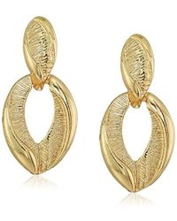 Napier - Gold Tone Doorknocker Post Stud Earrings - Lyst