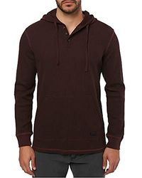 O'neill Sportswear Thermal Hoodie Henley Shirt - Brown