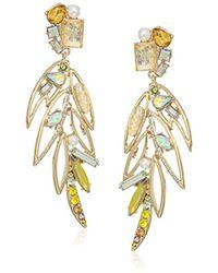 Betsey Johnson - S Yellow Bird Multi Stone Feather Earrings - Lyst