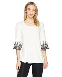 Adrianna Papell - Crew Neck Embroidered Bell Sleeve Top - Lyst