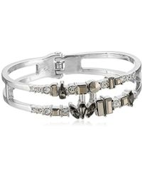 """Kenneth Cole - """"stone Cluster Metallic"""" Mixed Metallic Faceted Stone 2 Row Hinged Bangle Bracelet - Lyst"""