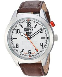 Superdry - 'yokohama Night Vision' Quartz Silver-tone And Leather Casual Watch, Color:brown (model: Syg187br) - Lyst