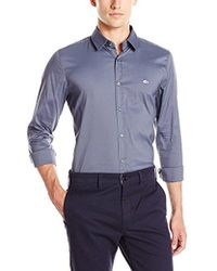 Lacoste - City Long Sleeve Stretch Solid Poplin Woven Shirt - Lyst