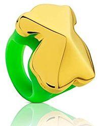 Tous - Anillo de mujer, Tack de plata vermeil y silicona verde - Lyst