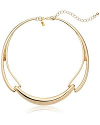 """Kenneth Jay Lane - Polished Gold 3 Part Necklace, 10"""" - Lyst"""
