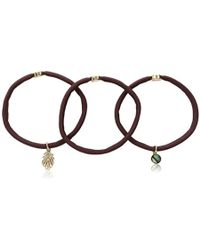 Kenneth Cole - Brown & Gold Leaf 3-set Tie Hair Accessory, One Size - Lyst