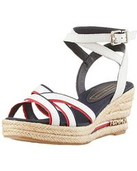 eba056ea9f Tommy Hilfiger Metallic Canvas Sandals in Natural - Lyst