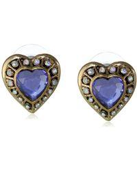 "Betsey Johnson - ""imperial Princess"" Crystal Heart Stud Earrings - Lyst"