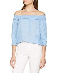 8ac52965e5da09 Dorothy Perkins Blue Floral And Striped Bardot Top in Blue - Lyst