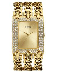 Guess - Gold-tone Glitz Chain-link Watch - Lyst