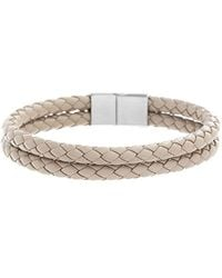 Ben Sherman - Double Stranded Beige Braided Bracelet With Stainless Steel Closure, 8 - Lyst