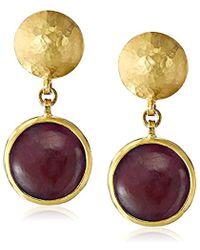 "Gurhan - ""lentil"" Gold Round Cabochon Ruby Drop Earrings - Lyst"