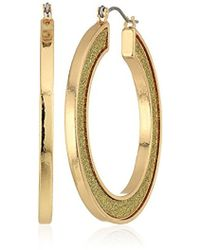 Steve Madden - Gold Plated Stainless Steel Round Flat Hoop Glitter Hinge Drop Earrings - Lyst