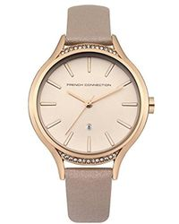 French Connection - Quartz Metal And Leather Casual Watch, Color:pink (model: Fc1292crg) - Lyst