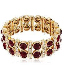 Anne Klein - Bash Gold-tone Stone Stretch Bracelet - Lyst