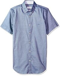 Lacoste - Short Sleeve Stretch Pinpoint Button Down Collar Slim Woven Shirt, Ch4973 - Lyst