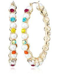 Betsey Johnson - S Pearl And Rhinestone Hoop Earrings - Lyst