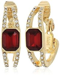 Anne Klein - Gold-tone Siam Hoop Clip Drop Earrings - Lyst