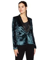 James Jeans - Tuxedo Jacket Satin Blazer In Emerald Crushed Velvet - Lyst